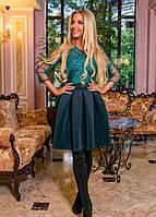 Платье тюльпан гипюровое на подкладке из дорогого гипюра с пышной юбкой до колена вечернее ( выпускное ) с рукавами Цвет : Темно зеленый ( Бутылка )