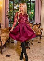 Платье тюльпан гипюровое на подкладке из дорогого гипюра с пышной юбкой до колена вечернее ( выпускное ) с рукавами Цвет : Марсала ( Бордовый ) Размер
