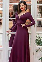 Платье длинное макси в пол с открытой спиной на змейке с декольте с длинным рукавом вечернее ( выпускное ) к низу расклешенное Цвет : Баклажан (