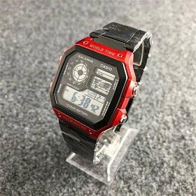 Мужские Часы Casio AE1200 \Касио\Спортивные\ Браслет\ Черные с Красным\Чорні \Чоловічі Часи Годинник  ГАРАНТИЯ