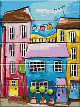 Картина по номерам по дереву Разноцветная улица