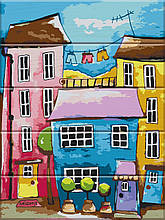 Картина за номерами по дереву Різнобарвна вулиця