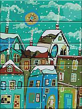 Картина по номерам по дереву Сказочный город