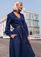 Платье - рубашка с поясом миди ниже колена повседневное на пуговицах расклешенное ( клеш ) с длинным рукавом Цвет : Синий Размер : 44 46 48 Материал :