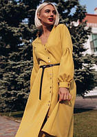 Платье - рубашка с поясом миди ниже колена повседневное на пуговицах расклешенное ( клеш ) с длинным рукавом Цвет : Горчица ( желтый ) Размер : 44 46