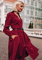 Платье - рубашка с поясом миди ниже колена повседневное на пуговицах расклешенное ( клеш ) с длинным рукавом Цвет : Марсала Размер : 44 46 48 Материал