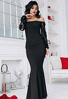 Платье вечернее с открытыми плечами в пол внизу расклешенное ( клеш ) гюпюровое выпускное макси длинное Цвет : Черный Размер : 44 46 Материал : гипюр
