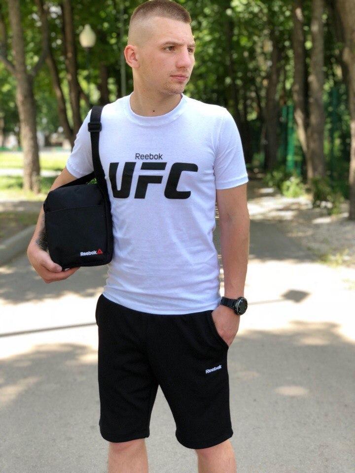 Костюм Футболка Белая+ Шорты Черные.  Барсетка в подарок! UFC.Reebok ( Рибок)