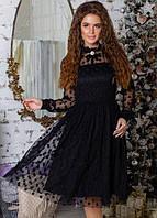 Платье с фатином расклешенное ( клеш ) вечернее ( выпускной ) миди ниже колена весенее Цвет : Черный Размер : 42 44 46 48 Материал : хлопок фатин