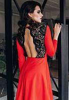 Платье с открытой спиной вечернее ( выпускное ) клеш гипюровое мини короткое выше колена Цвет : Красный Размер : 42 44 46 Материал : гипюр креп