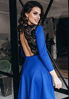 Платье с открытой спиной вечернее ( выпускное ) клеш гипюровое мини короткое выше колена Цвет : Синий Размер : 42 44 46 Материал : гипюр креп дайвинг