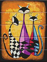 Картина по номерам по дереву Три кота