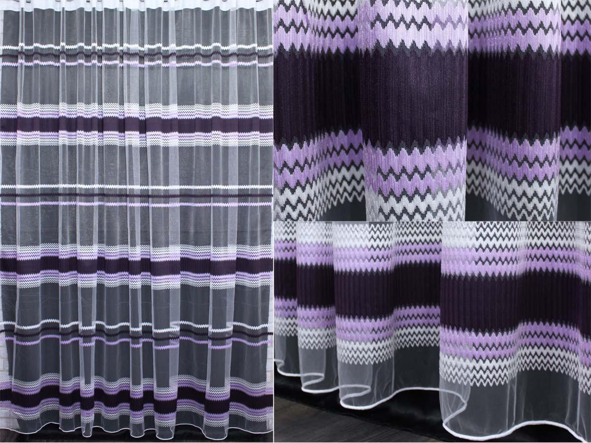 Тюль фатин полоса, цвет сиреневый с фиолетовым. Код 313т
