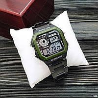 Мужские Часы Casio AE1200 \Касио\Спортивные\ Браслет\ Черные с Зеленым\Чорні \Чоловічі Часи Годинник  ГАРАНТИЯ