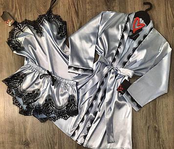 Піжама жіночий комплект трійка атласний з мереживом
