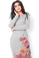 Платье женское весеннее с рукавами с принтом цветы Цвет: Серый Размер : 42 44 46 k-49365