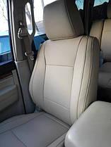 Чехлы на сидения Mitsubishi из эко-кожи бежевого цвета.