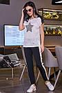 Чорні штани з лампасами жіночі літні, фото 2