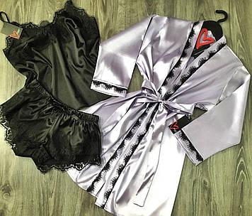 Лавандовий халат,домашній комплект халат майка шорти