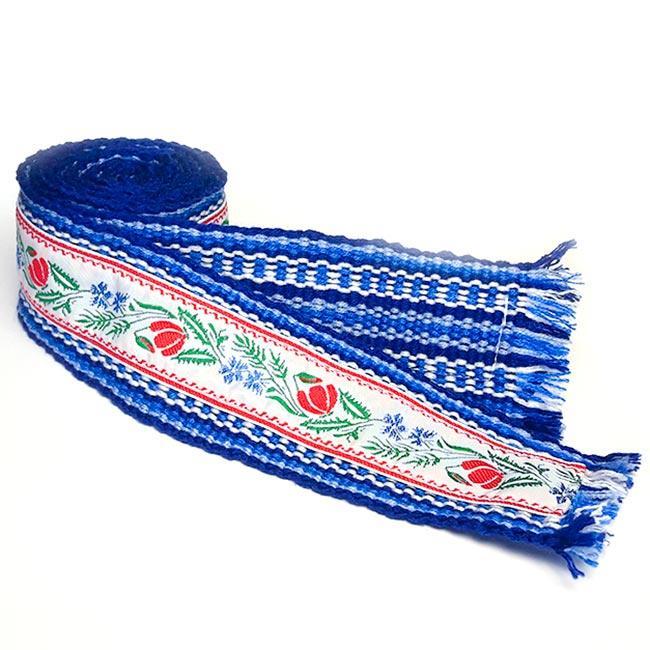 Крайка, синій пояс для вишиванки двосторонній 5 см