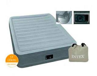 Полуторная надувная кровать-матрас INTEX 137x191x33 см со встроенным насосом 220W ортопедический матрац ИНТЕКС