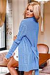 Удлиненный коттоновый кардиган с узором косичка голубой, фото 3