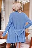 Удлиненный коттоновый кардиган с узором косичка голубой, фото 4