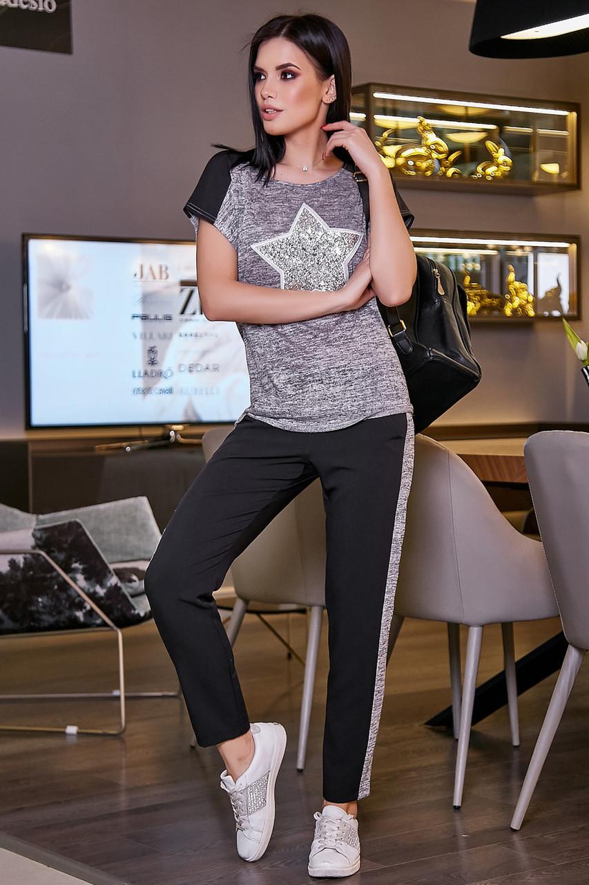 5da2ee01477f Женские брюки чёрные с лампасами, повседневные, молодёжные, спортивные,  летние