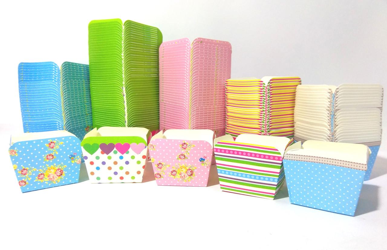 Формочки бумажные STENSON для кексов квадрат 100шт/уп 48*48*48мм