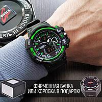 Мужские наручные часы Casio G-Shock GW-A1100 Black-Green черно зеленые реплика