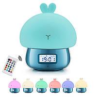 Ночник часы будильник ETEYV Зайка синий с аккумулятором для творчества подарок детям (FA000003B)