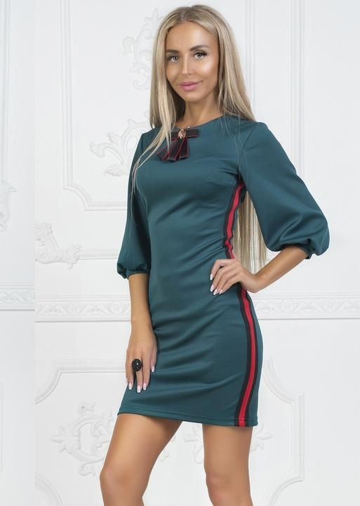 7e9ea4d88b34190 Платье женское вечернее короткое мини французкий трикотаж 42 размер 44  размер 46 размер Цвет: изумруд