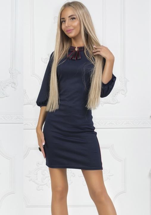 a2545cf2eddc835 Платье женское вечернее короткое мини французкий трикотаж 42 размер 44  размер 46 размер Цвет: темно