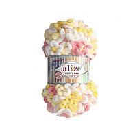 Пряжа  с петельками Alize Puffy Fine Color 5942 (Пуффи Файн Колор Ализе) для вязания без спиц руками