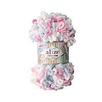 Пряжа  с петельками Alize Puffy Fine Color 5945 (Пуффи Файн Колор Ализе) для вязания без спиц руками