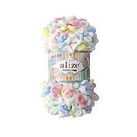 Пряжа  с петельками Alize Puffy Fine Color 5949 (Пуффи Файн Колор Ализе) для вязания без спиц руками