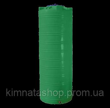 Емкость для воды  1000 л. узкая,вертикальная, двухслойная,зеленая