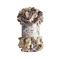 Пряжа  с петельками Alize Puffy Fine Color 6034 (Пуффи Файн Колор Ализе) для вязания без спиц руками