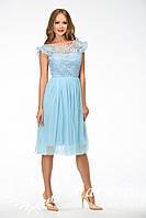 Женское кружевное платье с фатином без рукавов