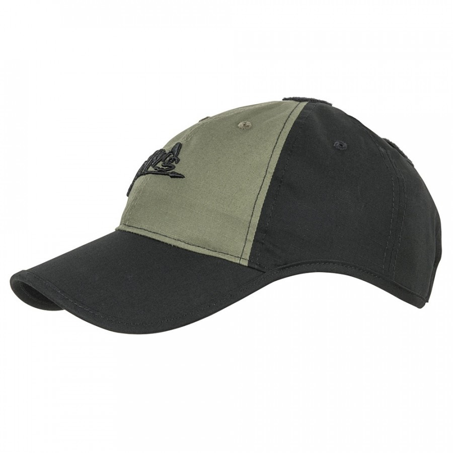 Бейсболка Helikon-Tex® LOGO - PolyCotton Ripstop - черная/олива