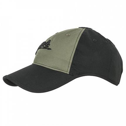 Бейсболка Helikon-Tex® LOGO - PolyCotton Ripstop - черная/олива, фото 2