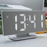 Электронные настольные зеркальные LED часы DS-3618L белая подсветка