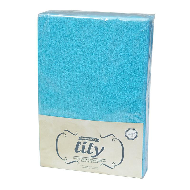 Простынь на резинке Lily  Махровая 160х200 + 2 наволочки 50х70 Бирюзовая
