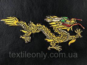 Нашивка Дракон золотой правый 185х75 мм