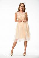 Женское платье с фатином набивное кружево