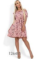 Пудровое летнее платье-мини с вырезом анжелика Д-1091
