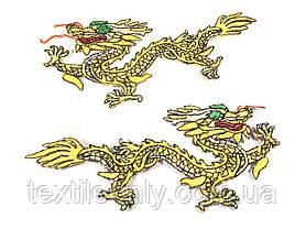 Нашивка золотий Дракон лівий 185х75 мм, фото 3