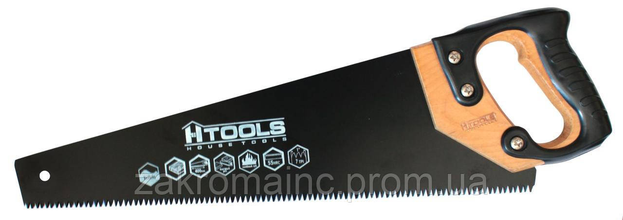 Ножовка столярная с калёным зубом 450мм, 7 TPI MAX CUT тройная заточка, тефлоновое покрытие HTools 10K408