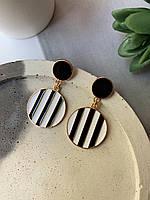Повседневные женские полосатые круглые серьги, золотистая окантовка