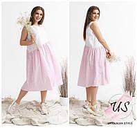 Батальное летнее двухцветное платье свободного силуэта в полоску. 2 расцветки., фото 1